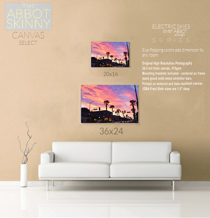 Electric Skies over Abbot Kinney Canvas Prints